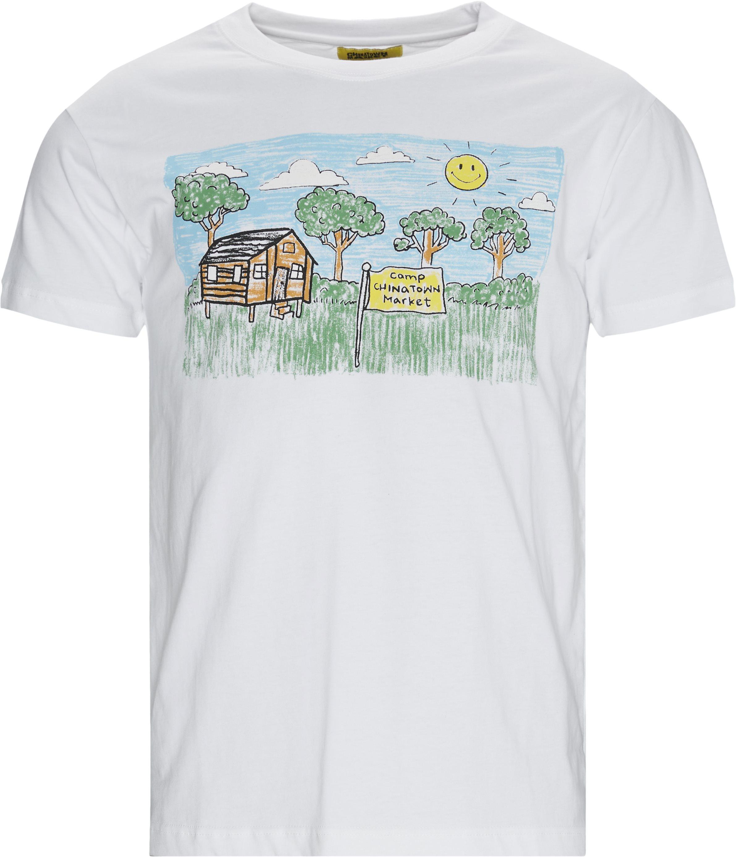 Smiley Kid Drawing Tee - T-shirts - Hvid