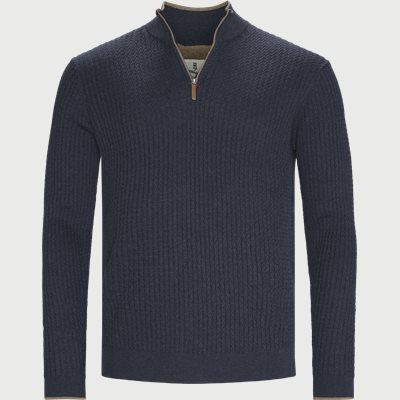 Half-Zip Mini Cable Knit Regular | Half-Zip Mini Cable Knit | Blå