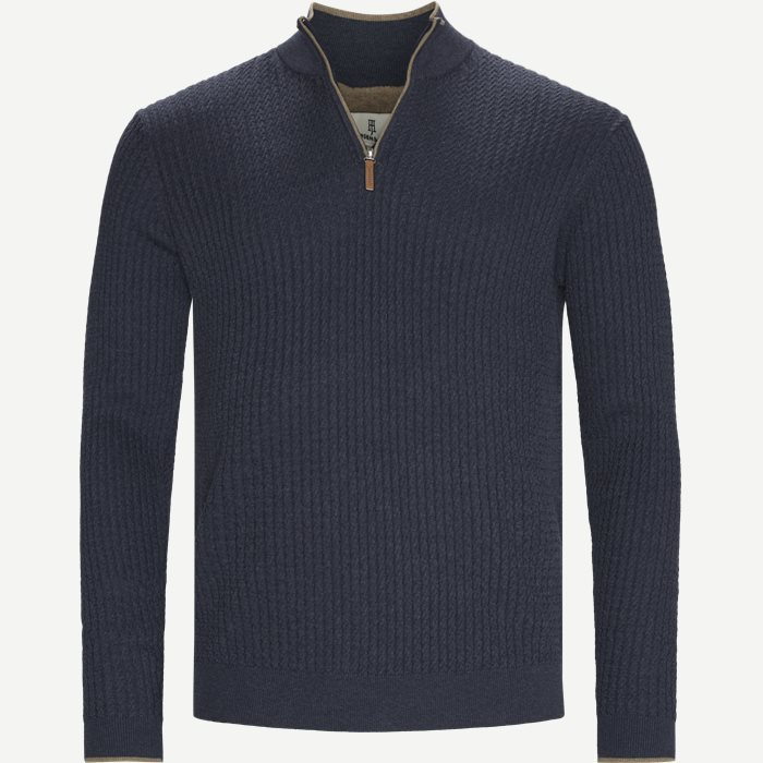 Half-Zip Mini Cable Knit - Strik - Regular - Blå