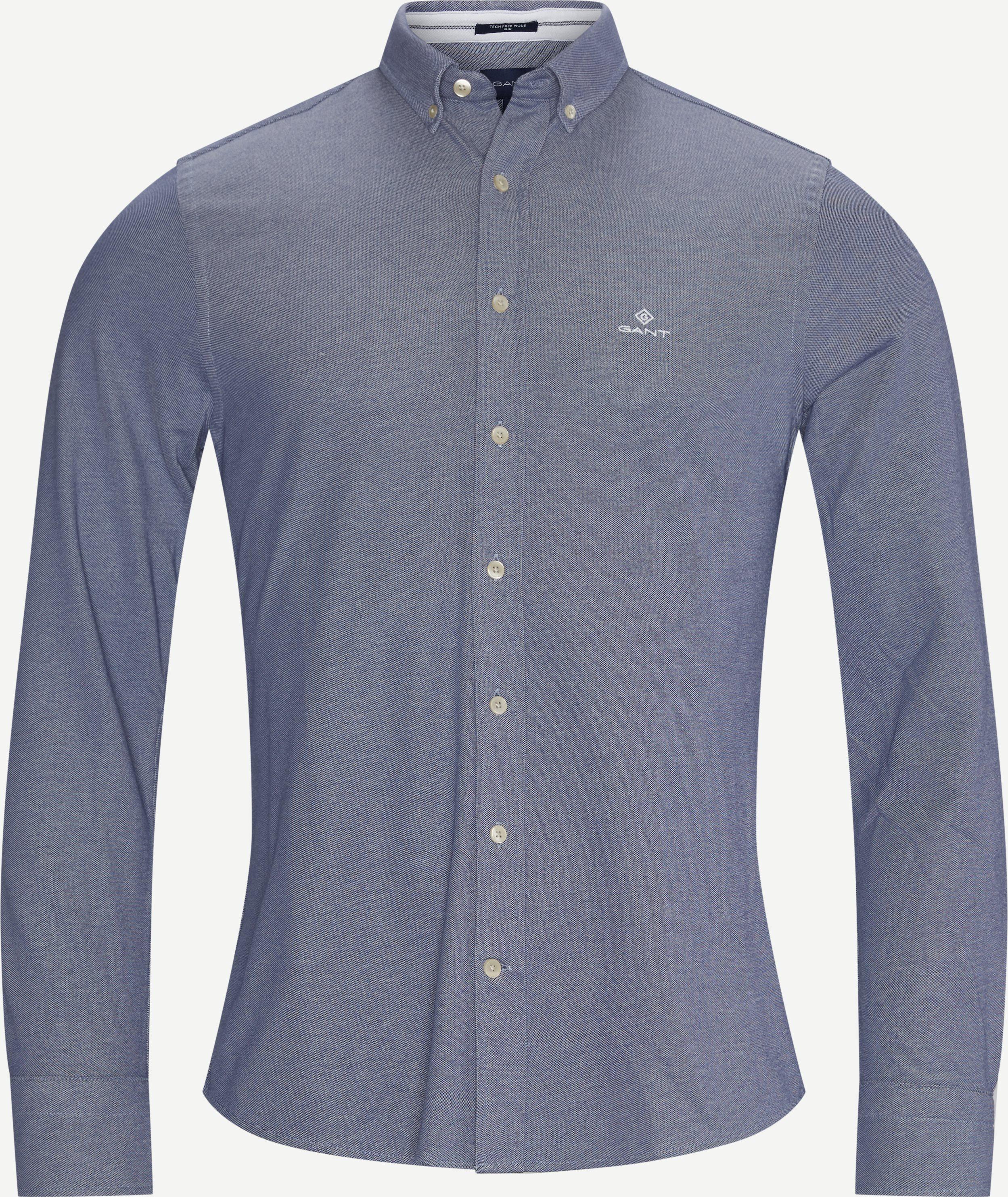 TP Pique  Solid Slim Shirt - Skjortor - Slim - Blå