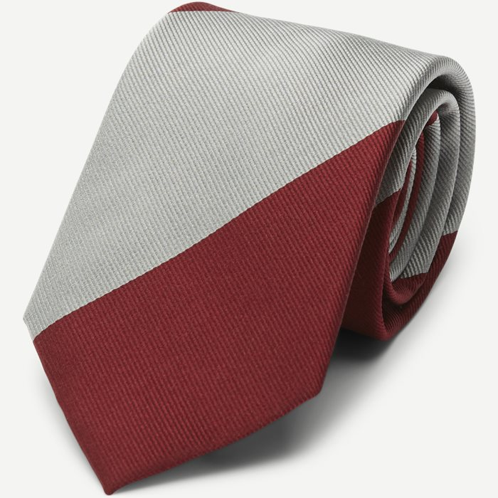 Block Silk Tie 7,5 cm - Ties - Grey