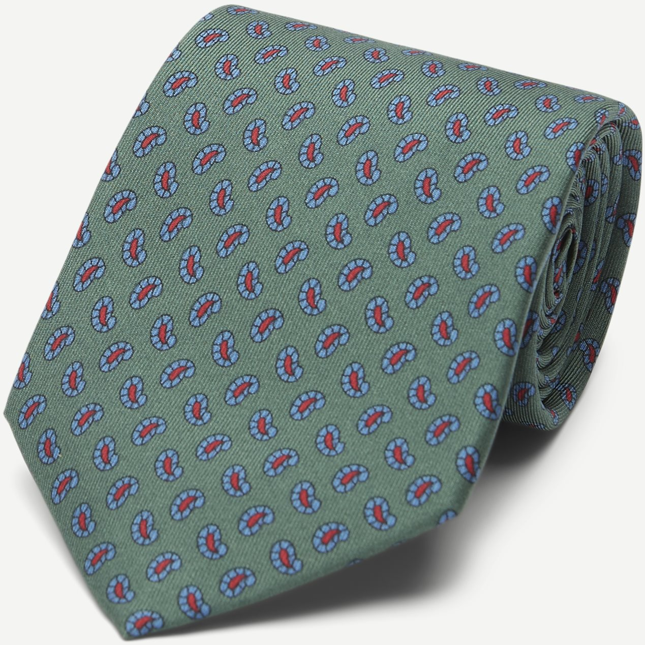 The Green Printed Counselor Tie 8 cm - Slipsar - Grön