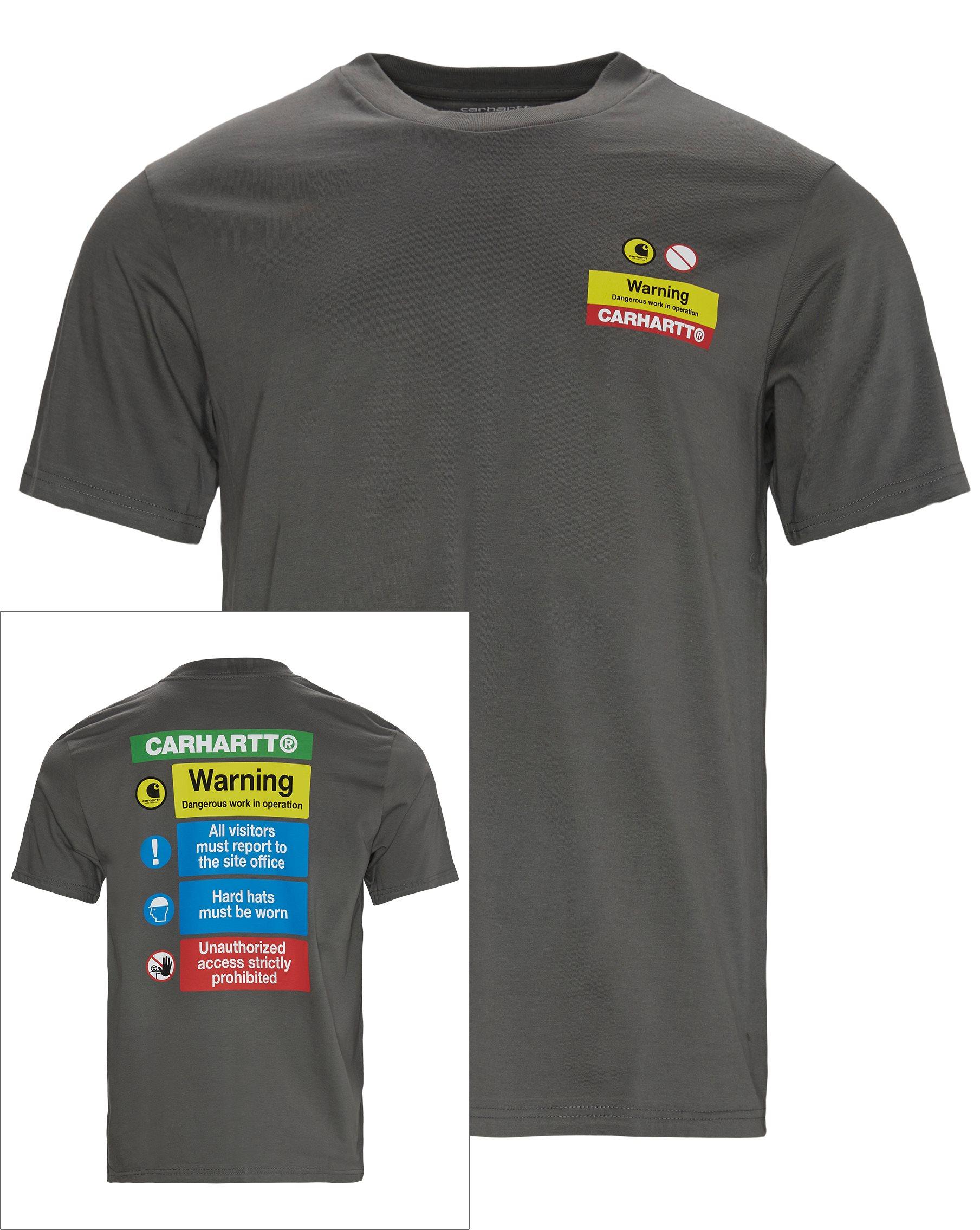 Warning Tee - T-shirts - Regular fit - Grå