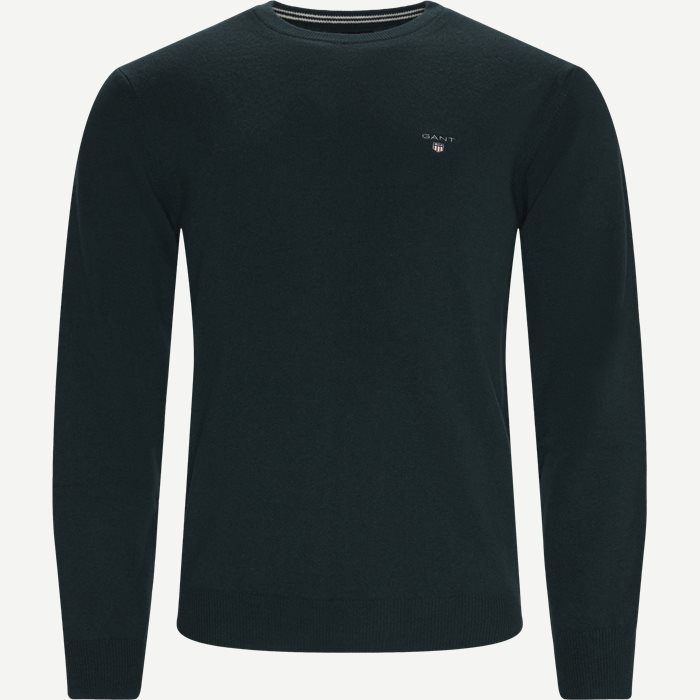 Superfine Lambswool Crew Neck Striktrøje - Strik - Regular - Grøn