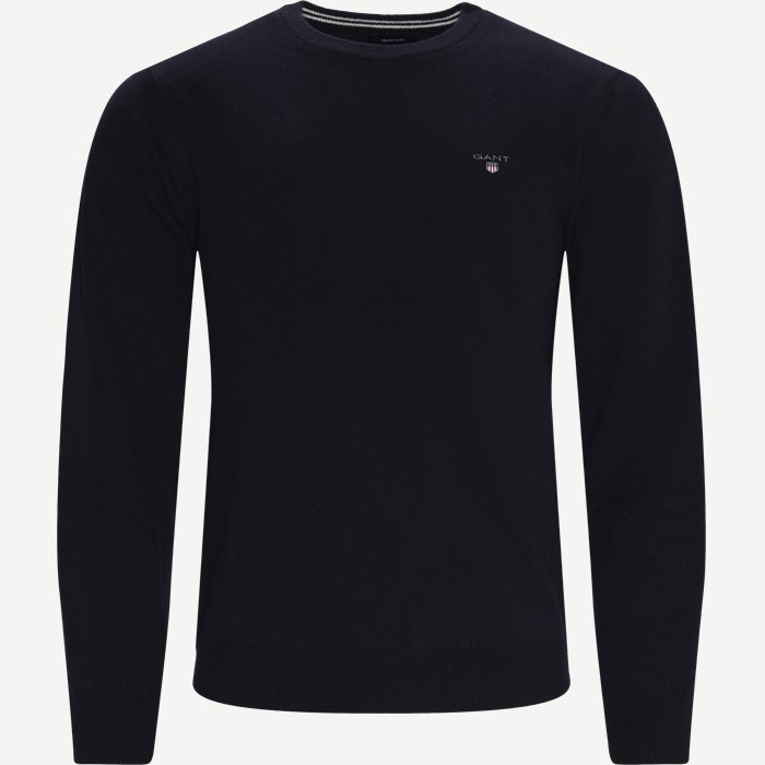 Superfine Lambswool Crew Neck Striktrøje - Strik - Regular - Blå