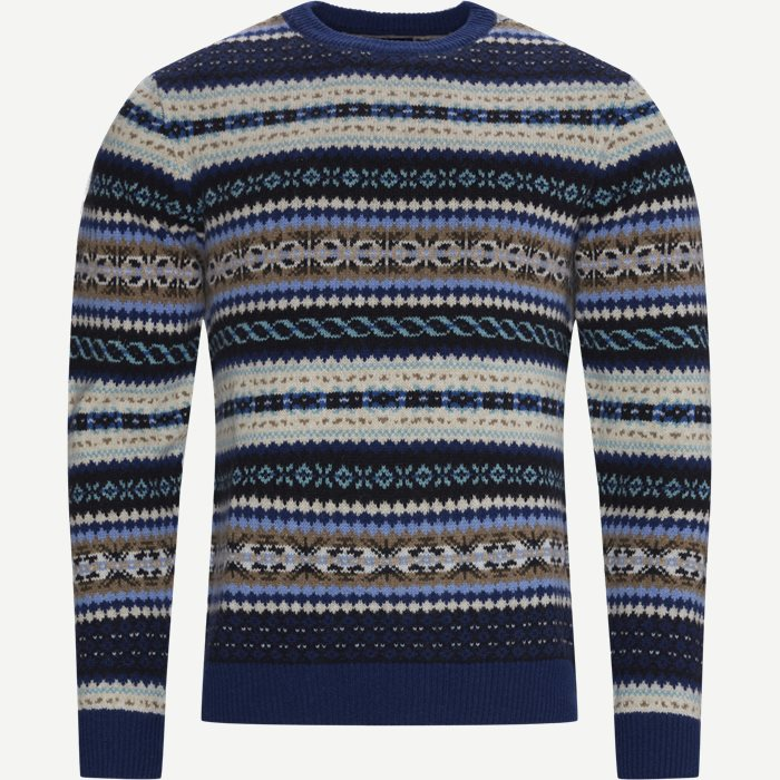 Fair Isle Crewneck Striktrøje - Strik - Regular - Blå