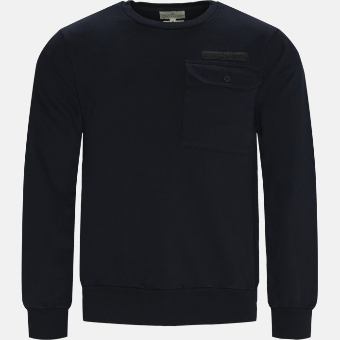 Crew Neck Pocket Sweat - Sweatshirts - Regular - Blå