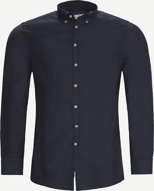 Solid Melange Flanel Shirt - Skjortor - Casual fit - Blå
