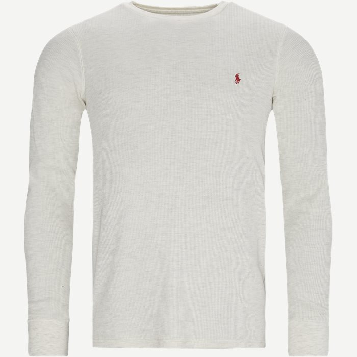 Waffle Crew Neck Long Sleeve - T-shirts - Regular - Sand