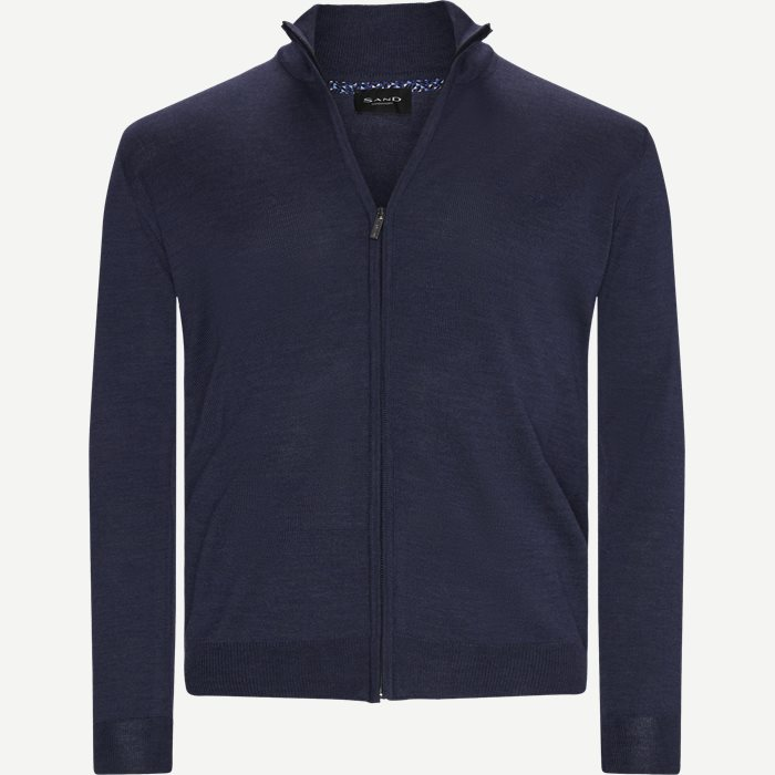 Merino Embr. Cardigan - Stickat - Regular - Denim