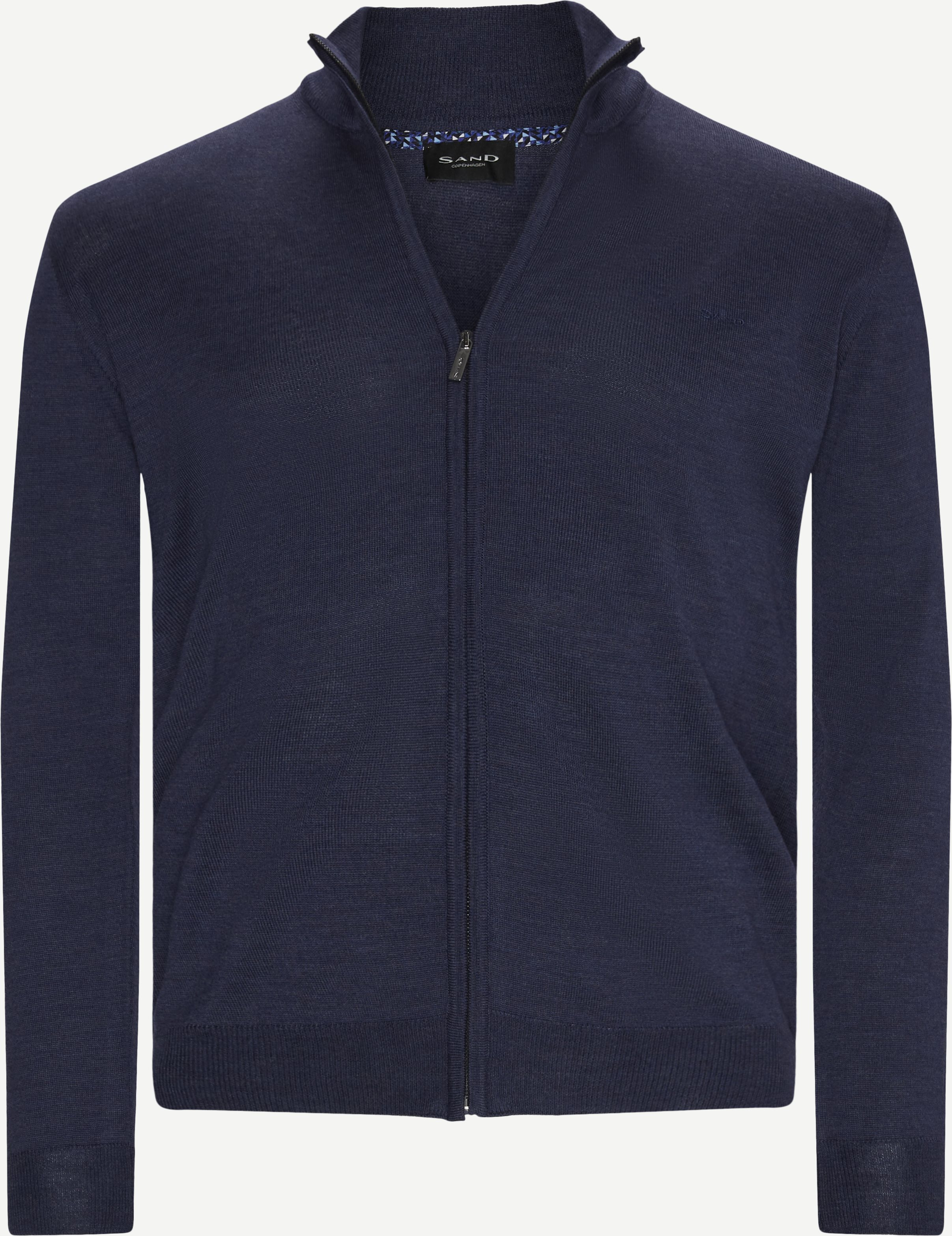 Merino Embr. Cardigan - Knitwear - Regular - Denim