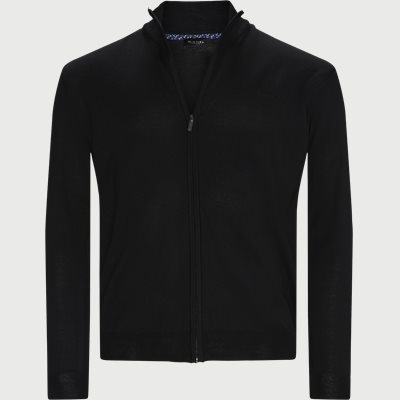 Merino Embr. Cardigan Regular | Merino Embr. Cardigan | Sort