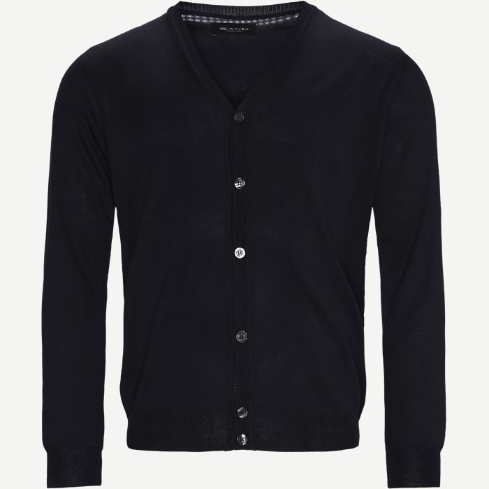 Merino Embr. Ice Cardigan - Stickat - Regular - Blå