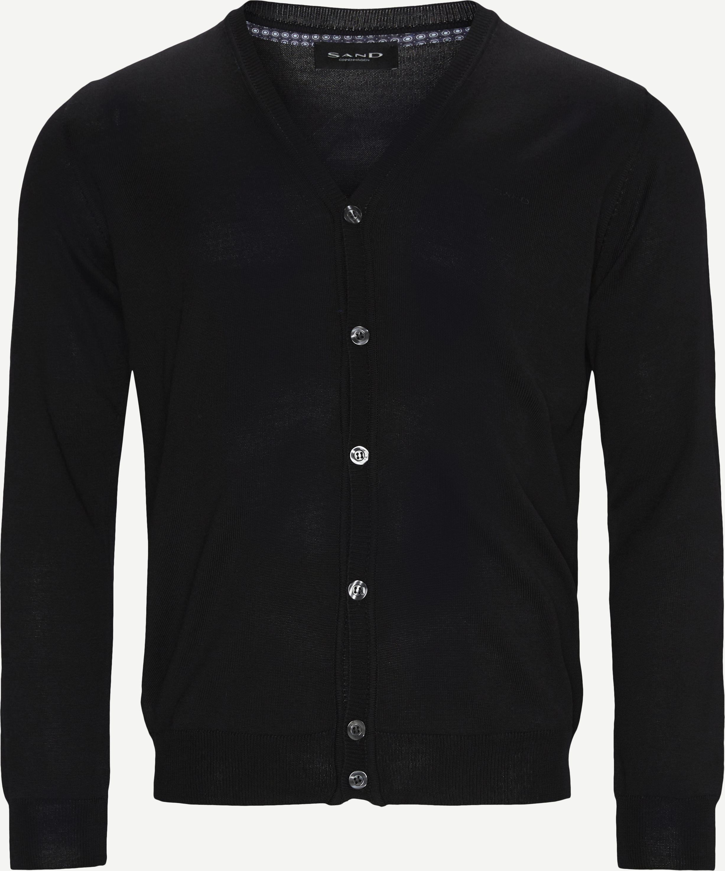 Merino Embr. Ice Cardigan - Knitwear - Regular - Black