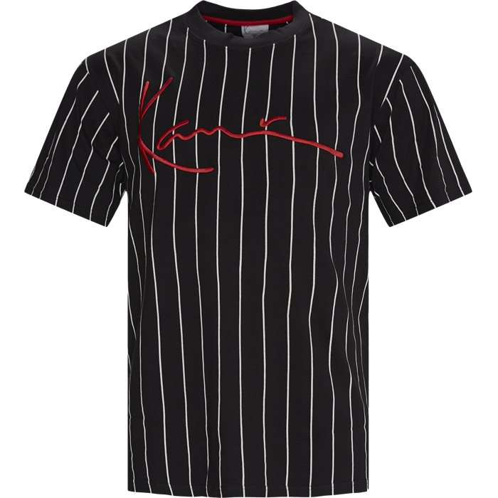 SIGNATURE PINSTRIPE Tee - T-shirts - Regular - Sort