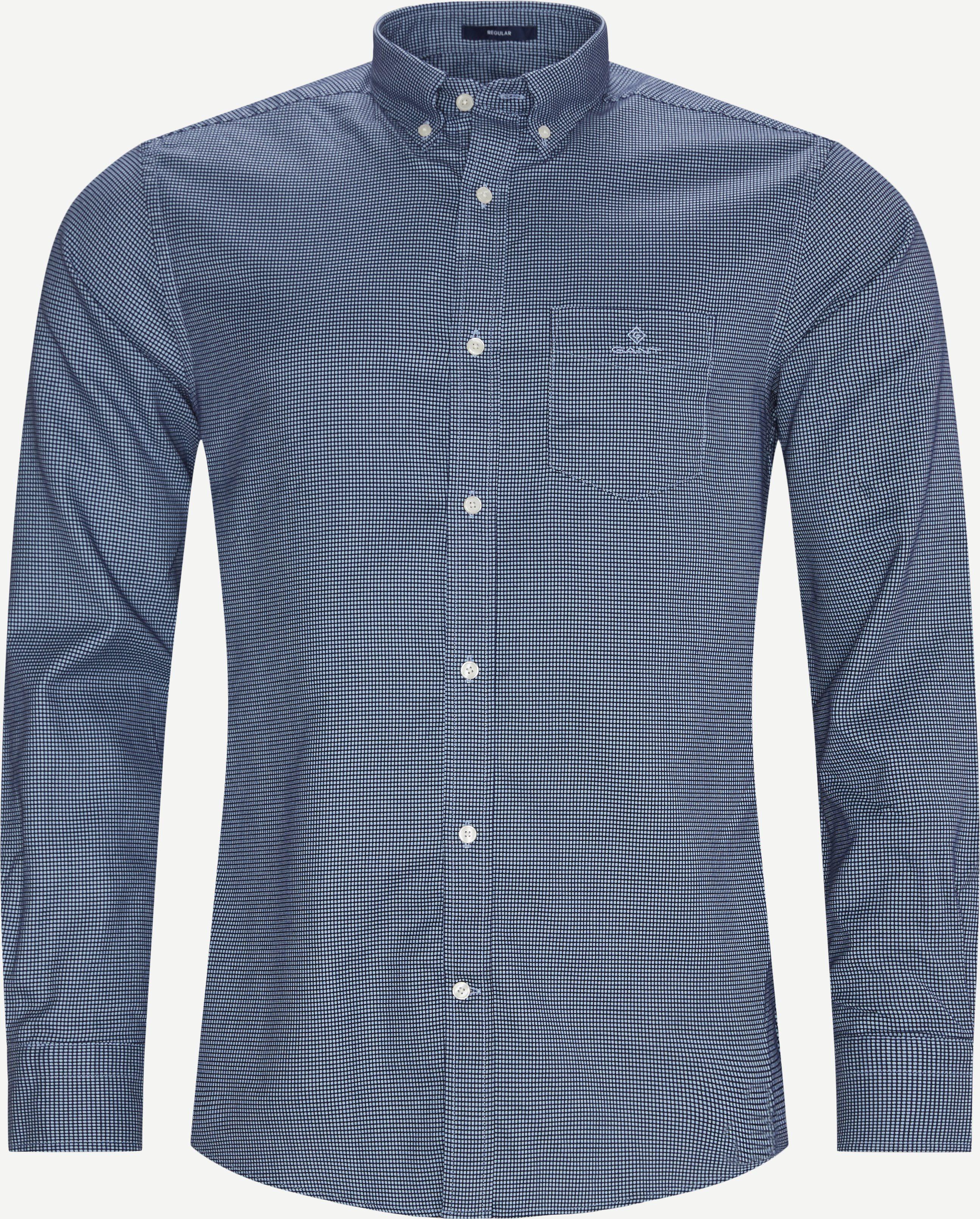 Melange Doby REG Shirt - Skjortor - Regular - Blå