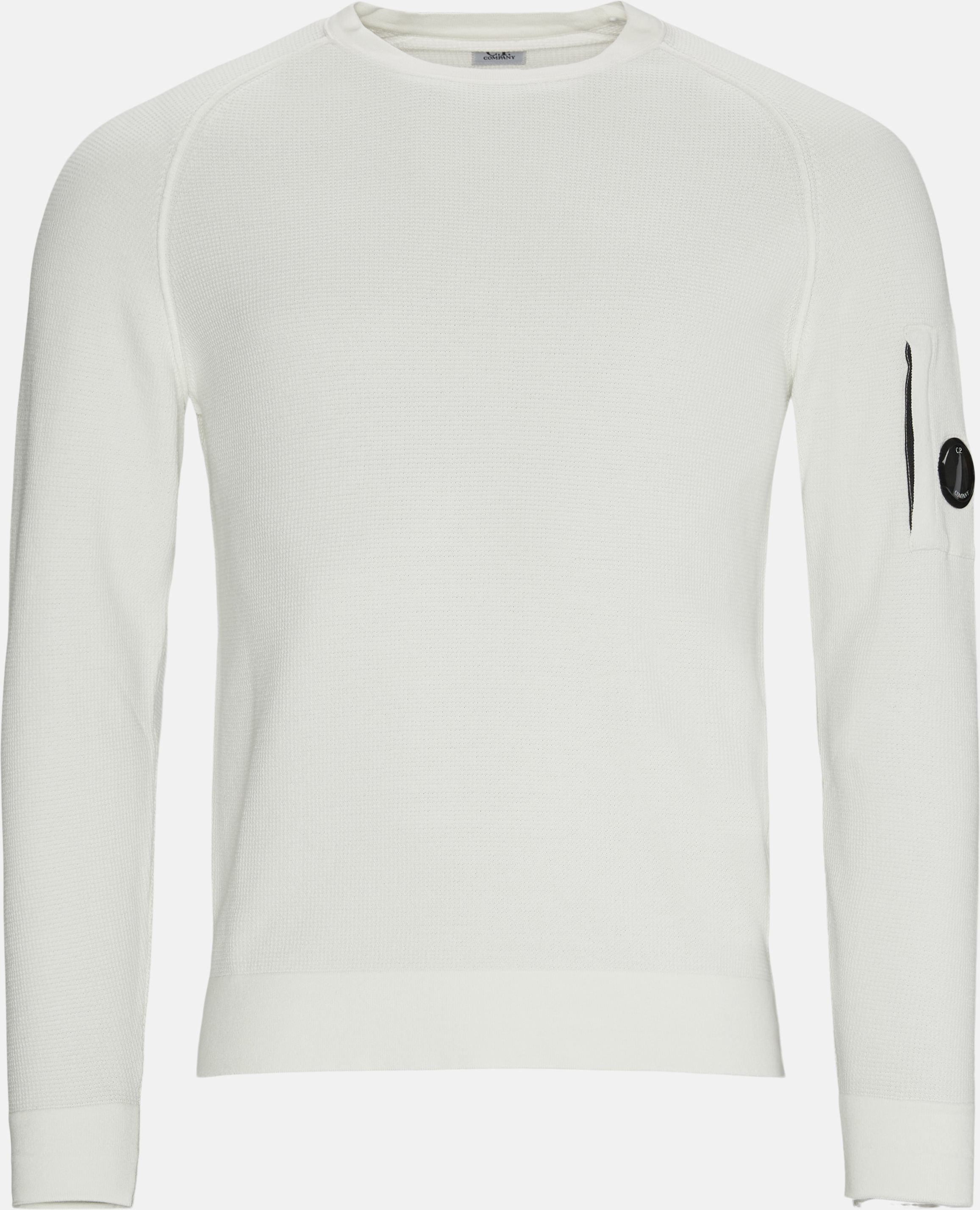 Waffle Knitted Lens Logo Crewneck - Knitwear - Regular fit - White