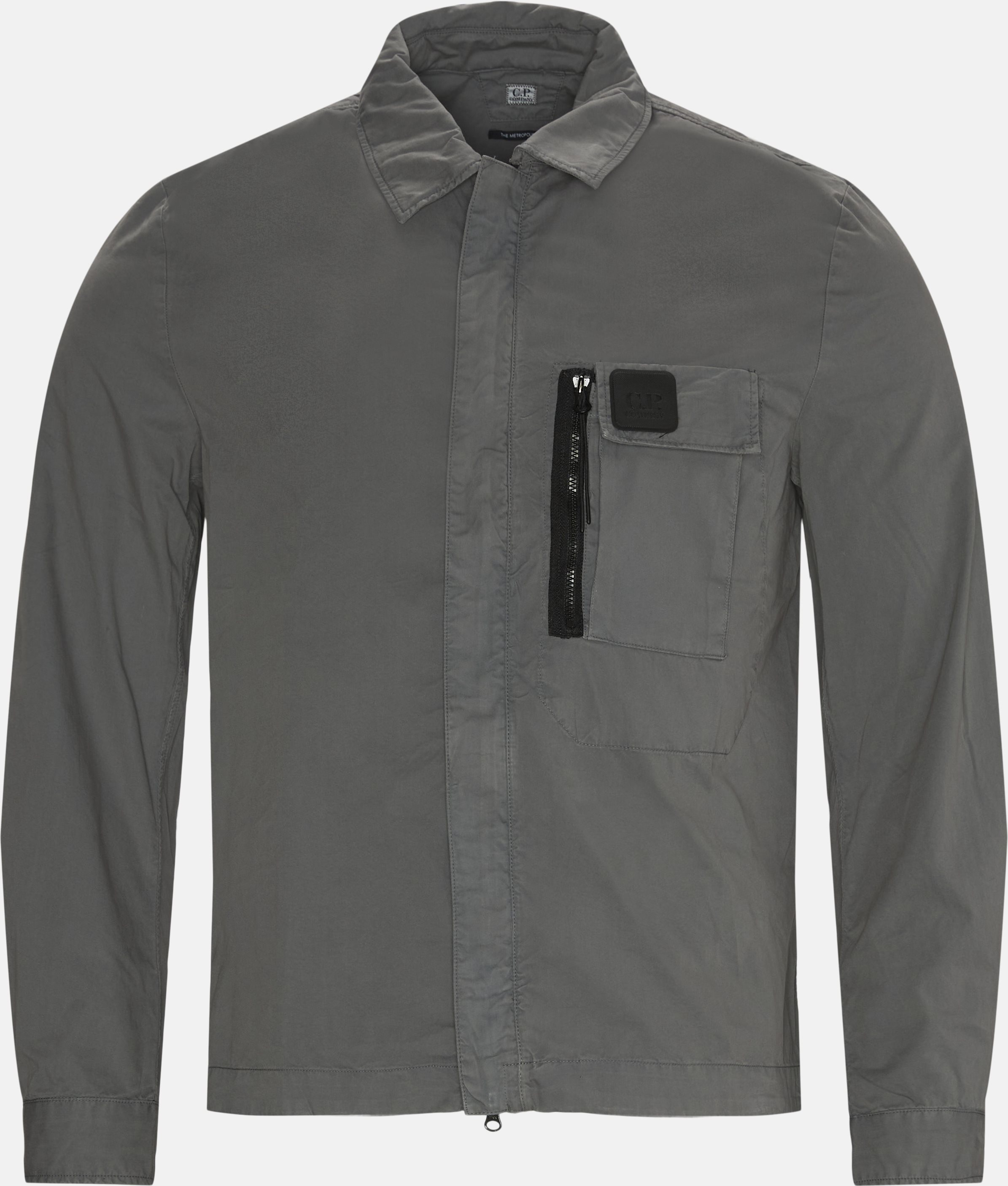 Garbardine Logo Shirt - Shirts - Regular - Grey