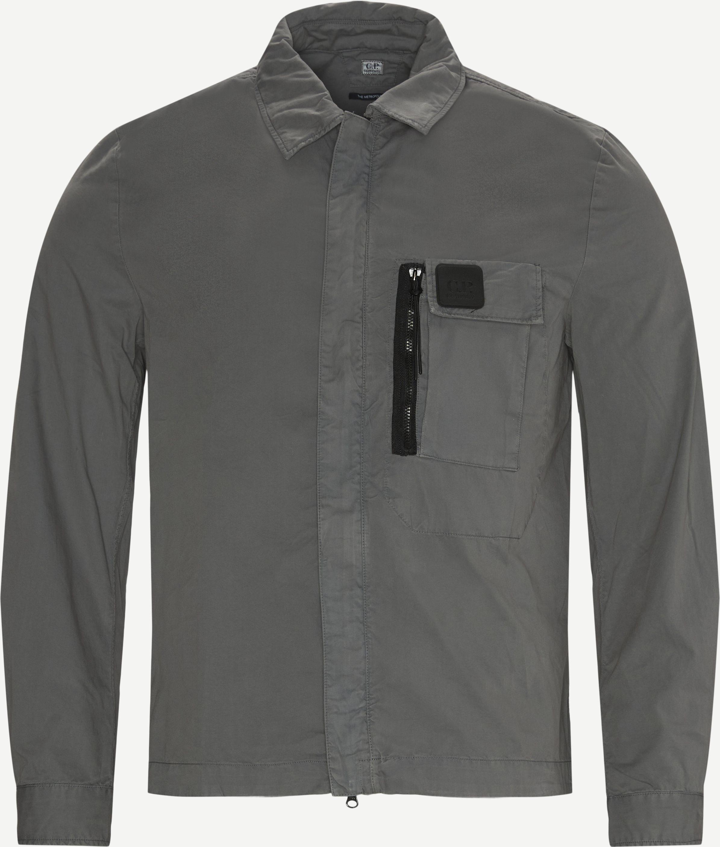 Garbardine Logo Shirt - Shirts - Regular fit - Grey
