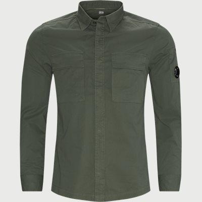 Emerized Gabardine Garment Dyed Shirt Regular fit | Emerized Gabardine Garment Dyed Shirt | Grøn