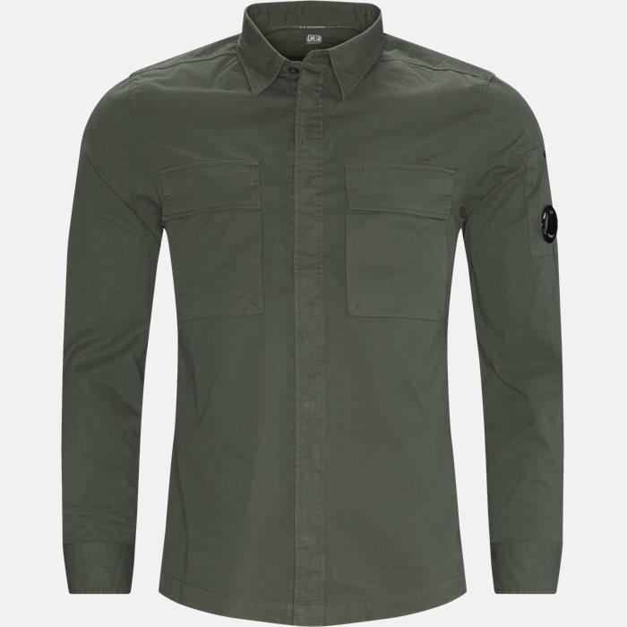 Emerized Gabardine Garment Dyed Shirt - Skjorter - Regular - Grøn