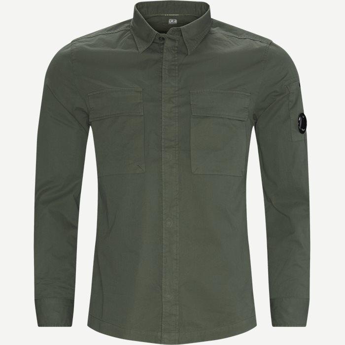 Emerized Gabardine Garment Dyed Shirt - Skjortor - Regular - Grön