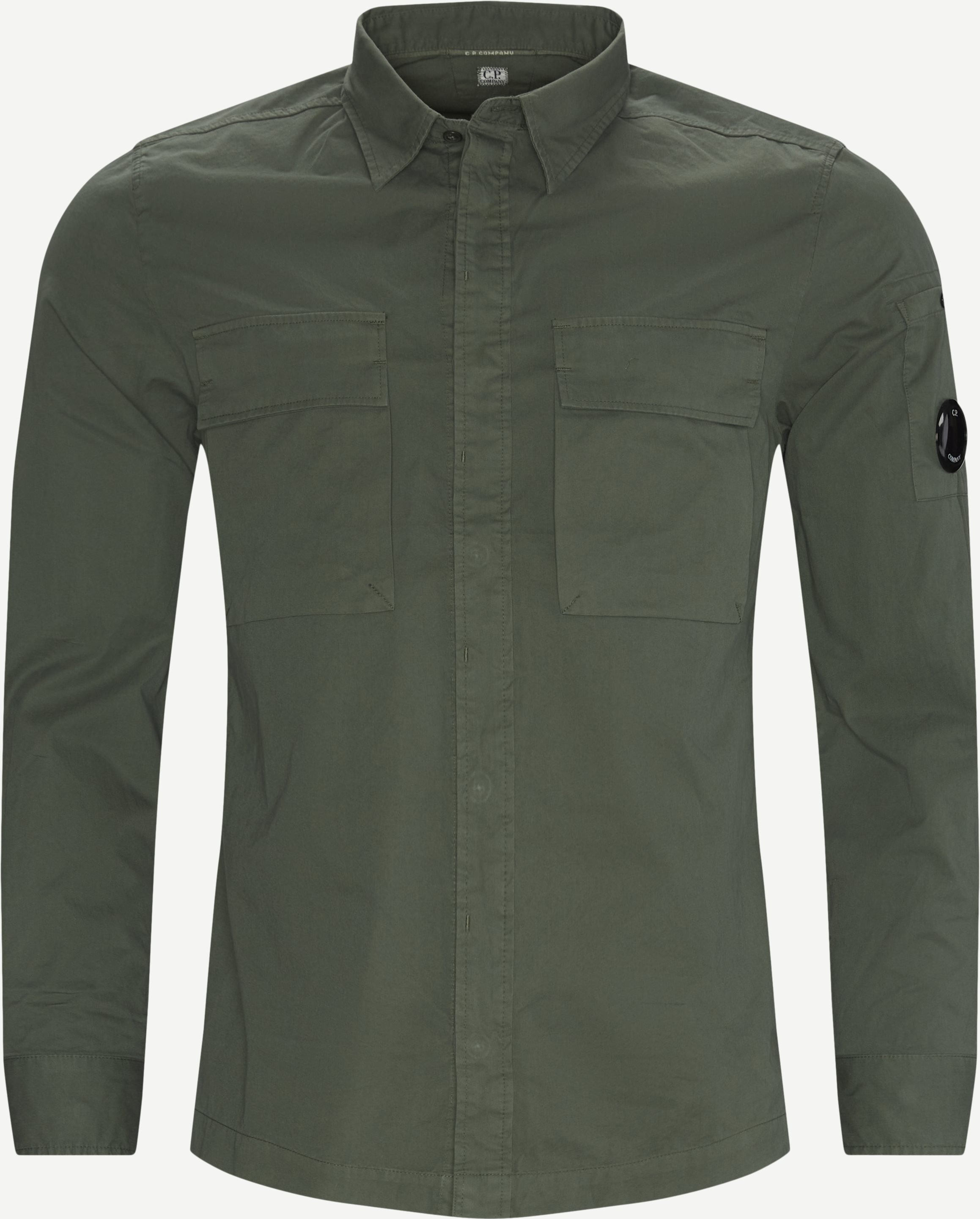 Emerized Gabardine Garment Dyed Shirt - Skjortor - Regular - Grön