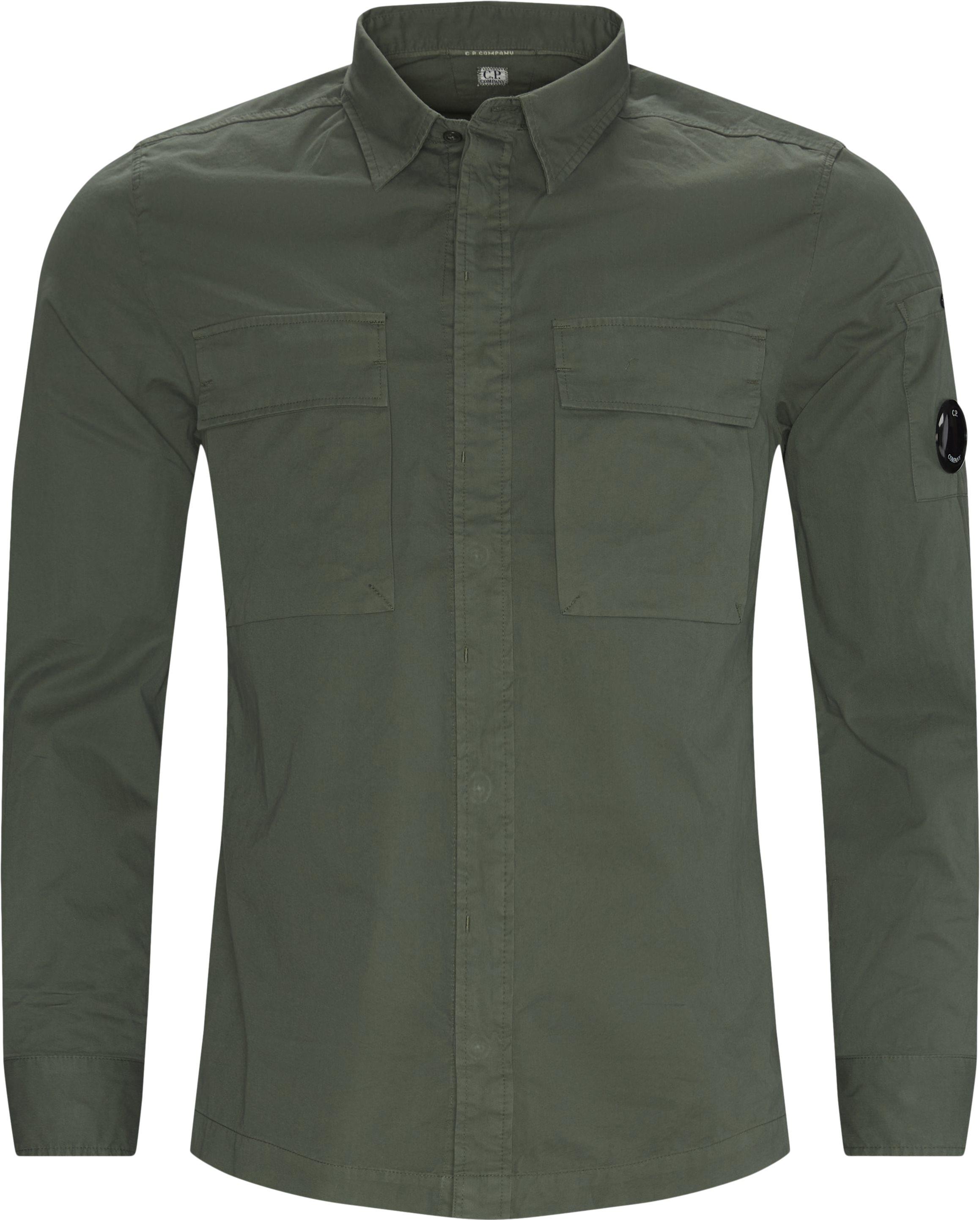 Emerized Gabardine Garment Dyed Shirt - Skjorter - Regular fit - Grøn