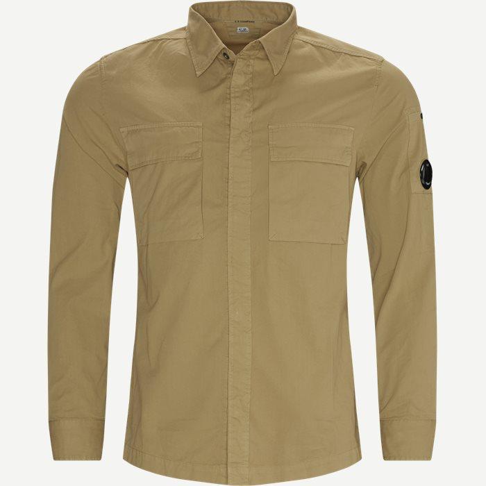 Emerized Gabardine Garment Dyed Shirt - Skjortor - Regular - Sand