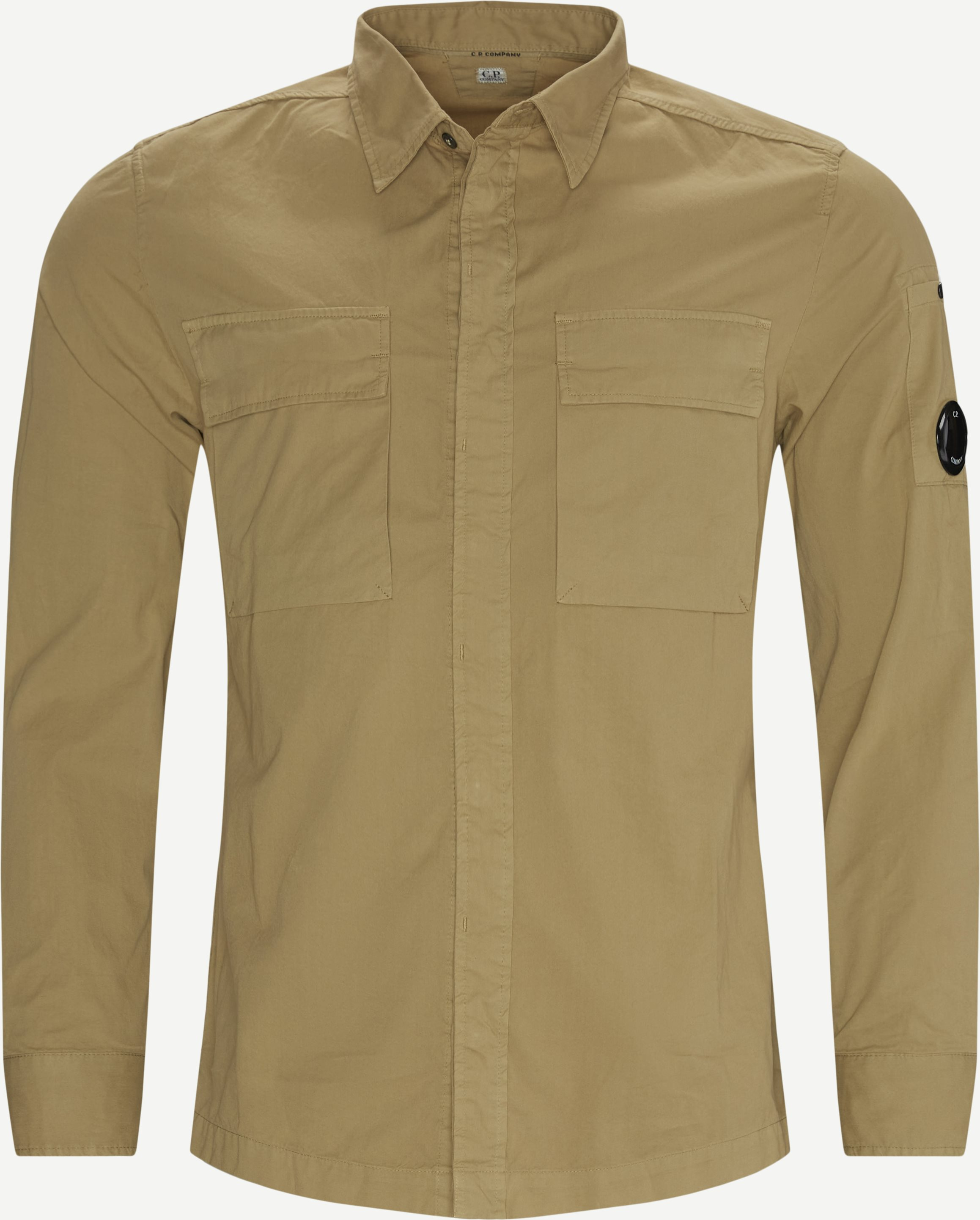 Emerized Gabardine Garment Dyed Shirt - Skjortor - Regular - Sand