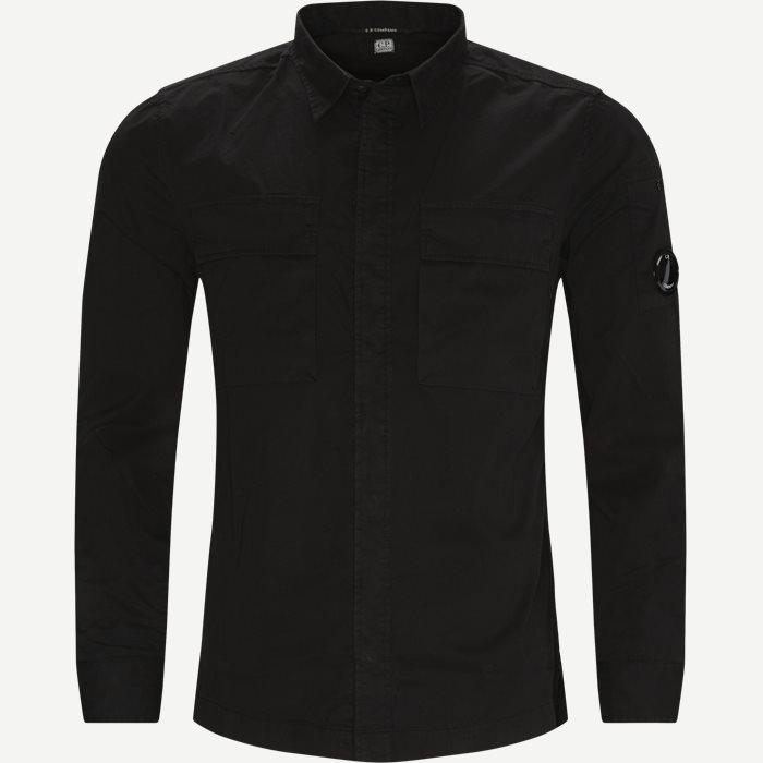 Emerized Gabardine Garment Dyed Shirt - Skjortor - Regular - Svart