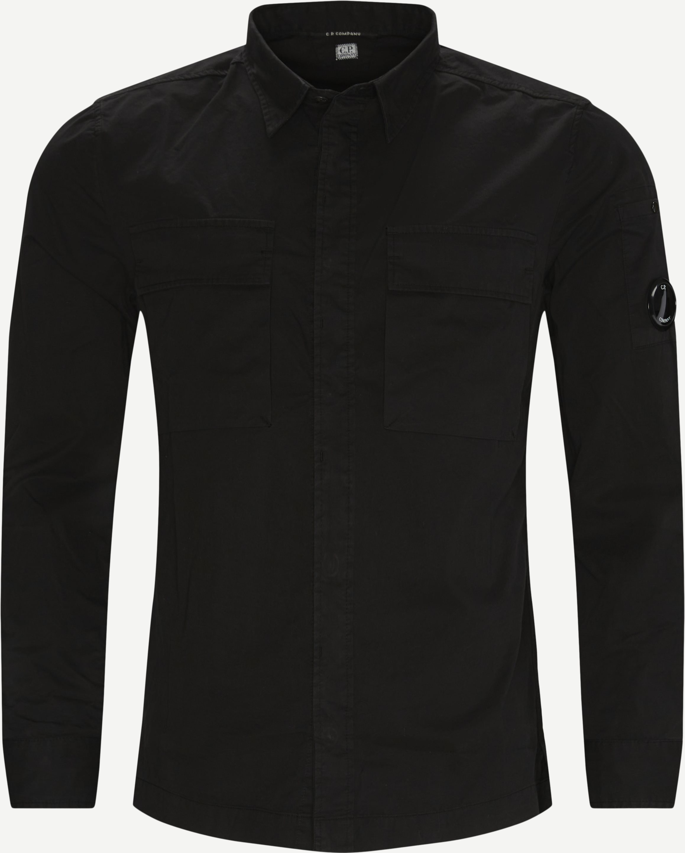 Emerized Gabardine Garment Dyed Shirt - Skjortor - Regular - Svart