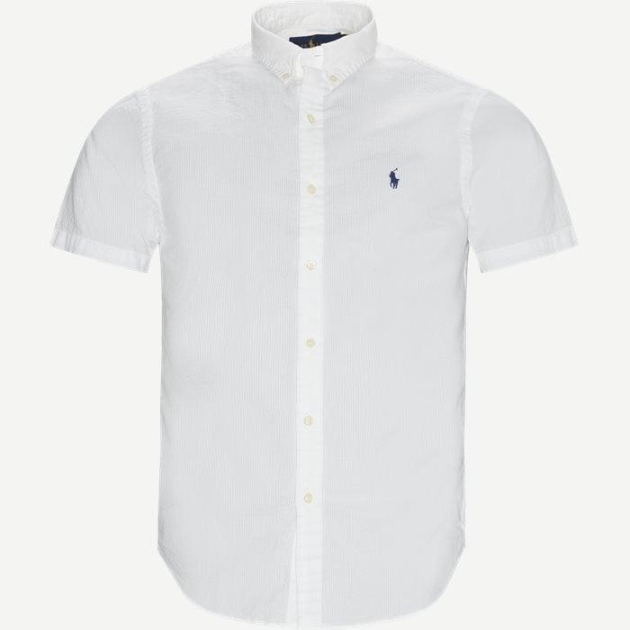 Logo Seersucker Shirt - Kortärmade skjortor - Slim - Vit