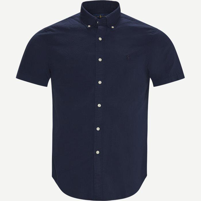 Logo Seersucker Shirt - Kortärmade skjortor - Slim - Blå