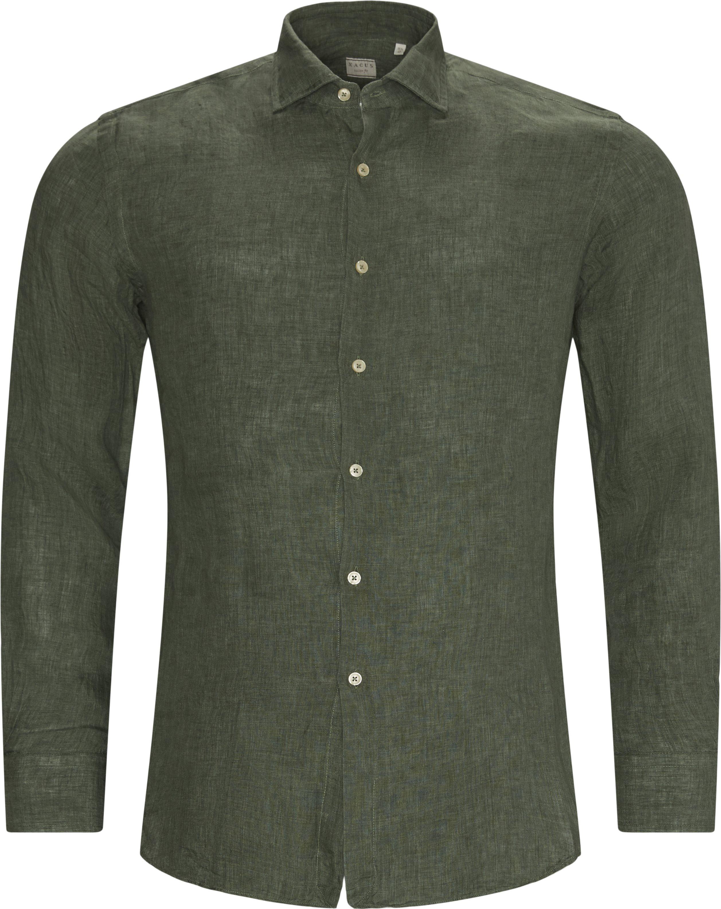 Hør Skjorte - Skjorter - Slim fit - Grøn