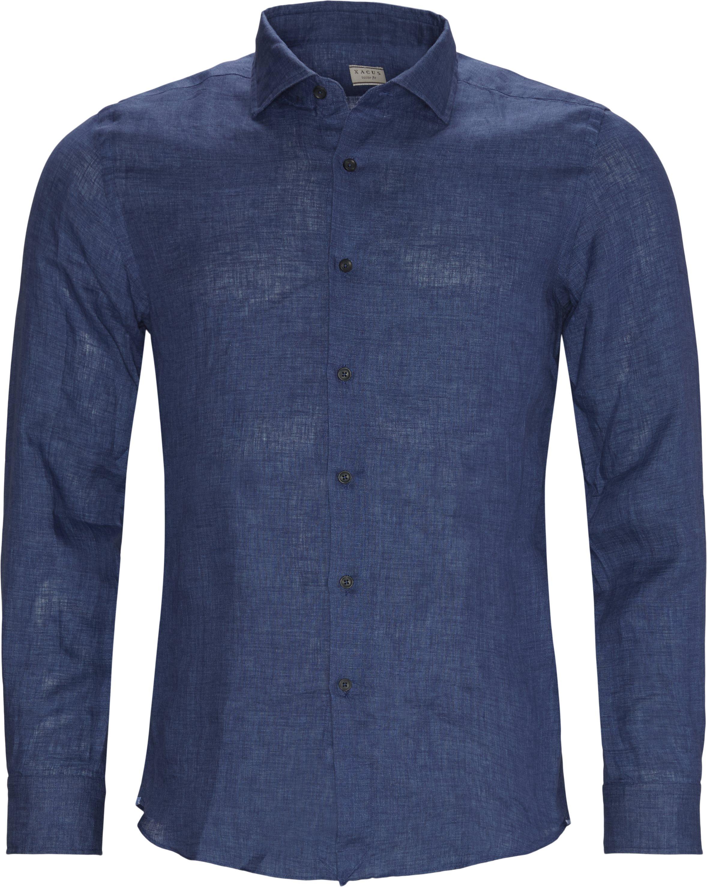 Hør skjorte - Skjorter - Tailored fit - Blå