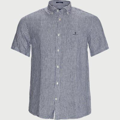The Linen Stripe SS Shirt Regular | The Linen Stripe SS Shirt | Blå