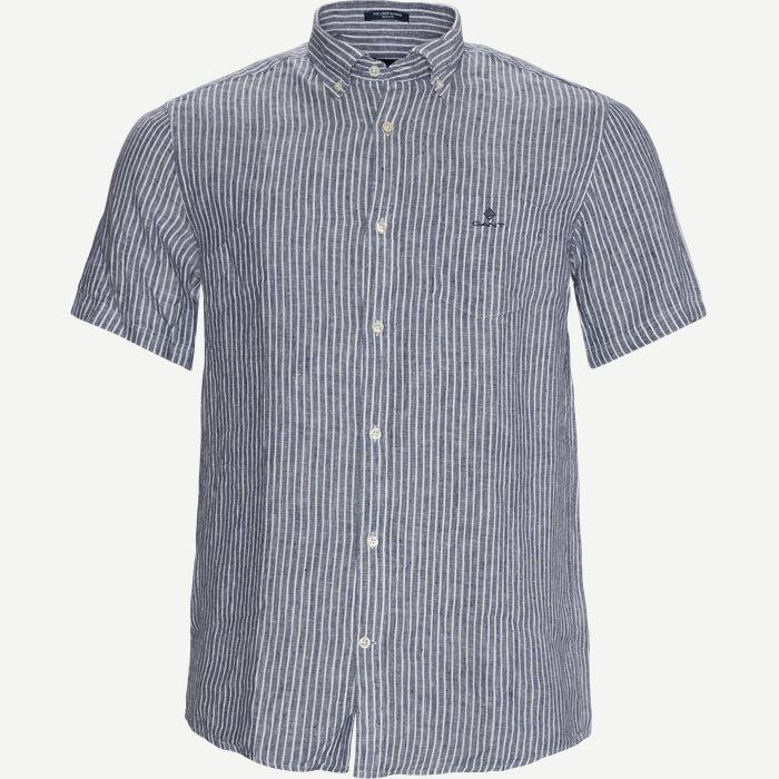 The Linen Stripe SS Shirt - Kortærmede skjorter - Regular - Blå