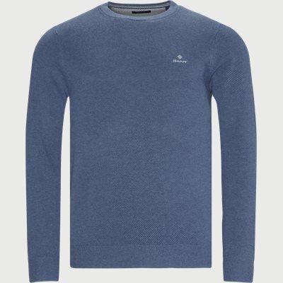 Cotton Pique Crew Neck Knit Regular fit | Cotton Pique Crew Neck Knit | Blå