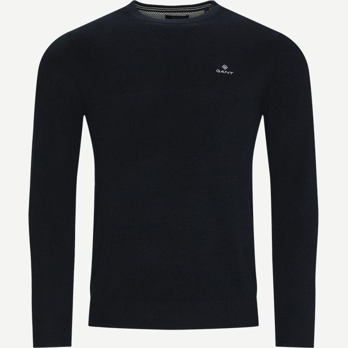 Cotton Pique Crew Neck Knit - Strik - Regular - Blå