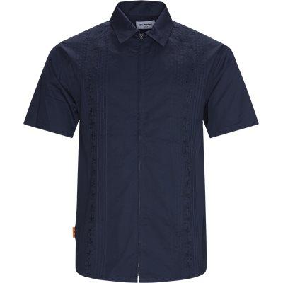 Floral Zip K/Æ Skjorte Regular | Floral Zip K/Æ Skjorte | Blå