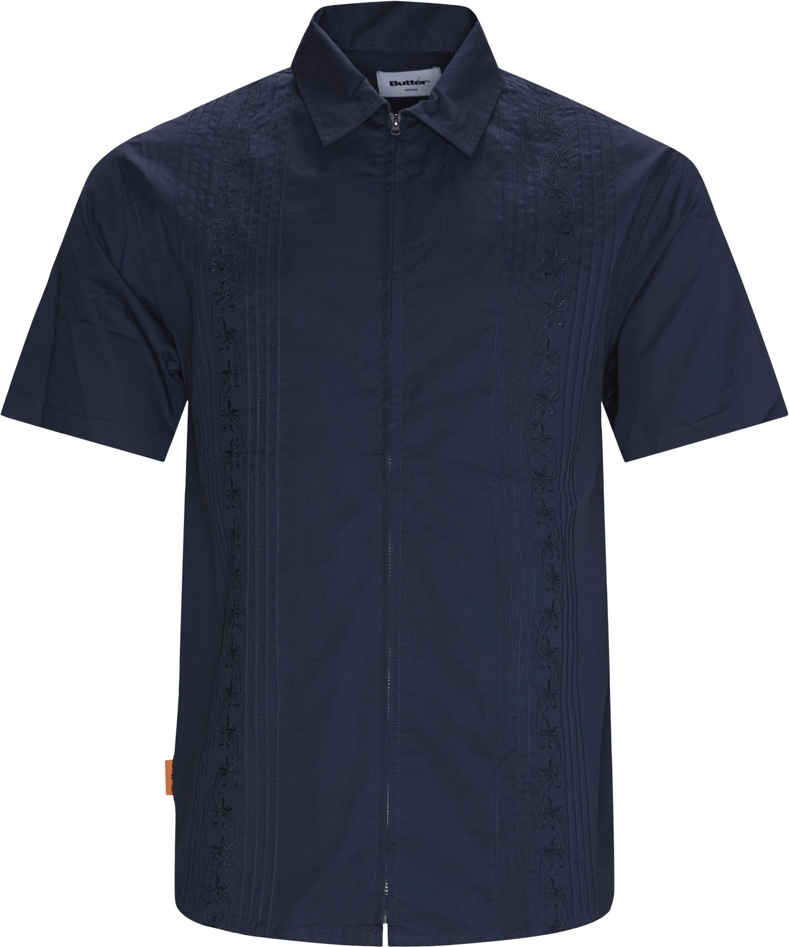 Floral Zip K/Æ Skjorte - Shirts - Regular - Blue