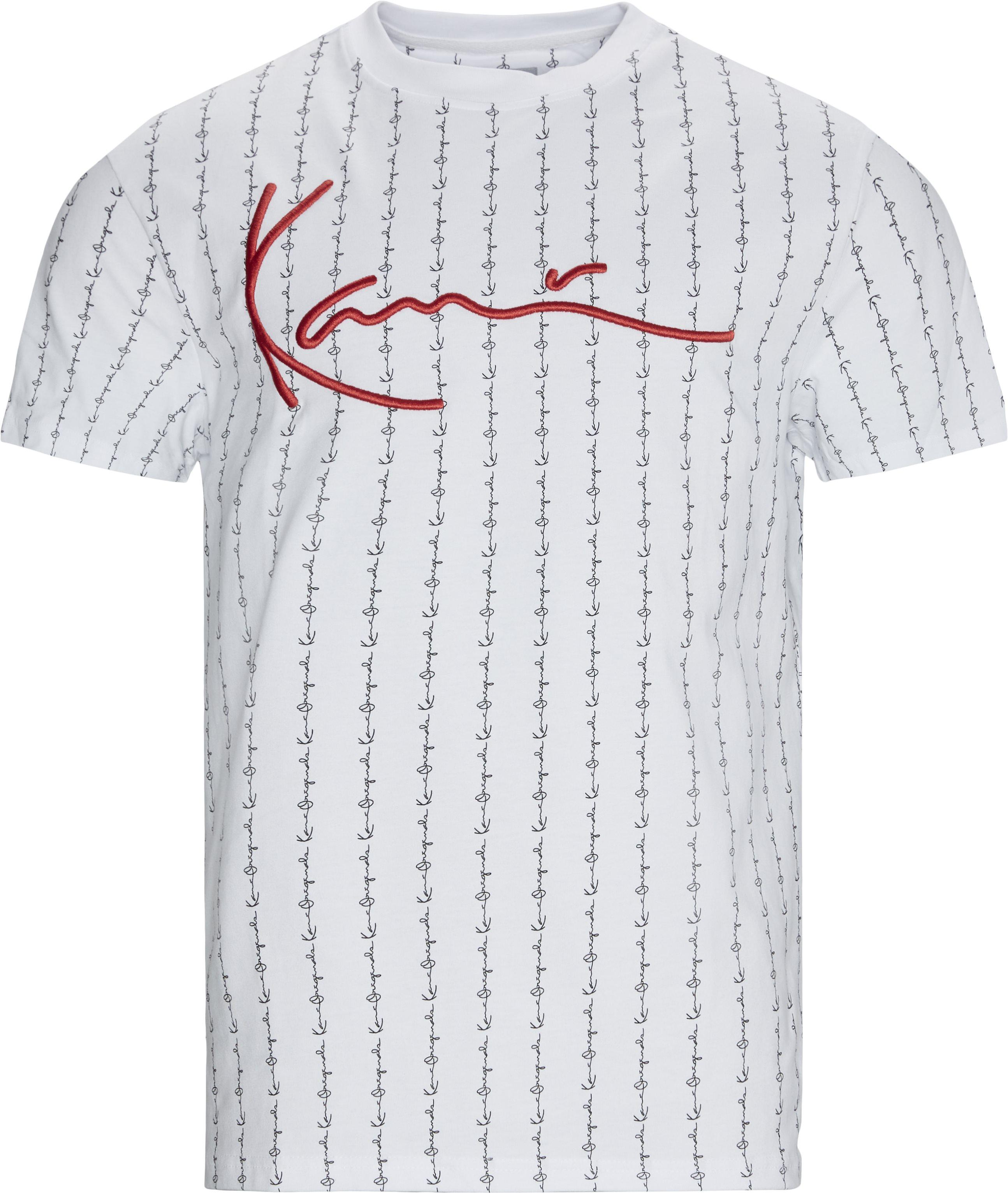 Signature Logo Pinstripe T-shirt - T-shirts - Regular - Hvid