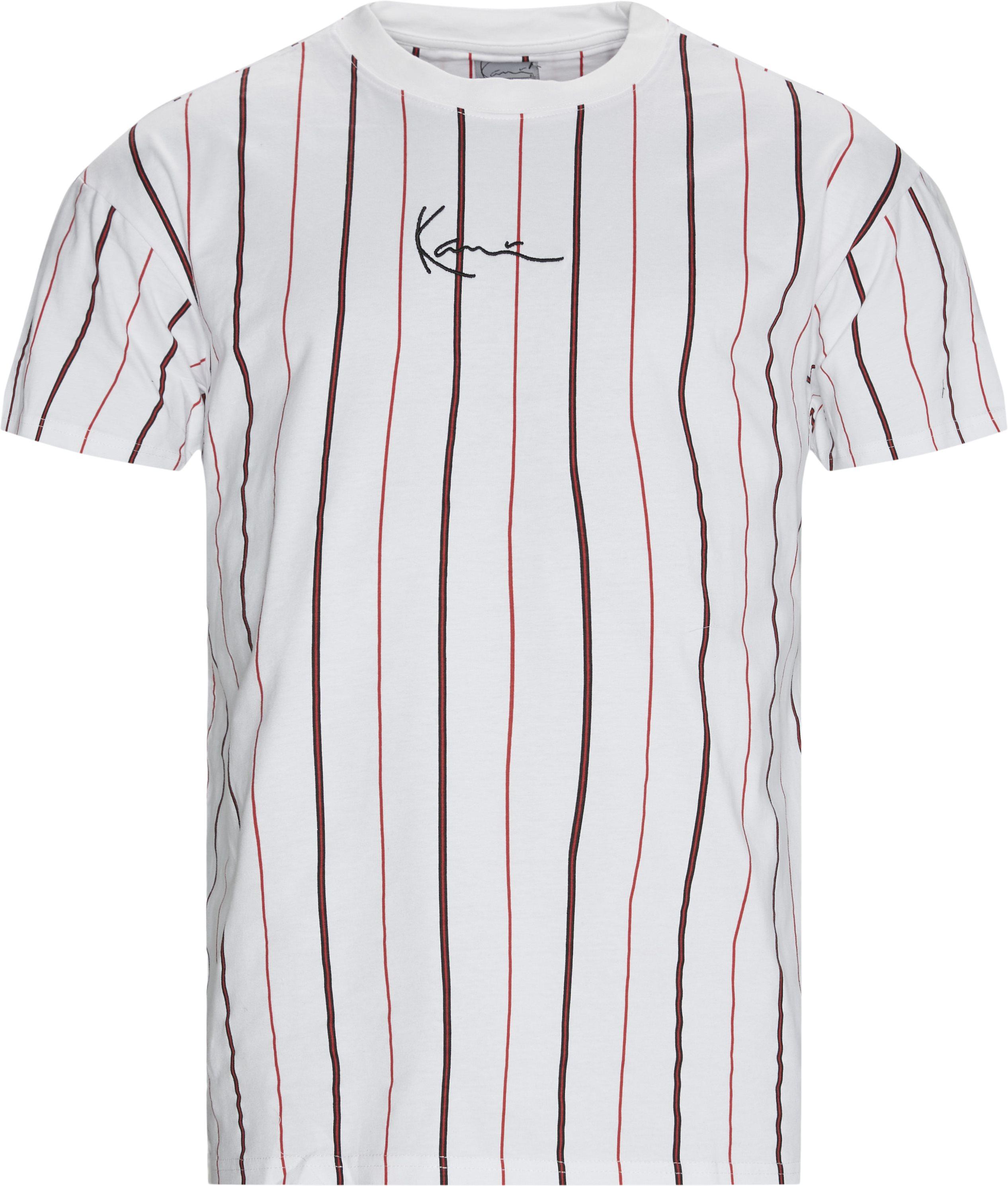 Small Signature Pinstripe T-shirt - T-shirts - Regular - Hvid