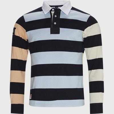 Multi Block Stripped LÆ Polo T-shirt Regular fit | Multi Block Stripped LÆ Polo T-shirt | Blå