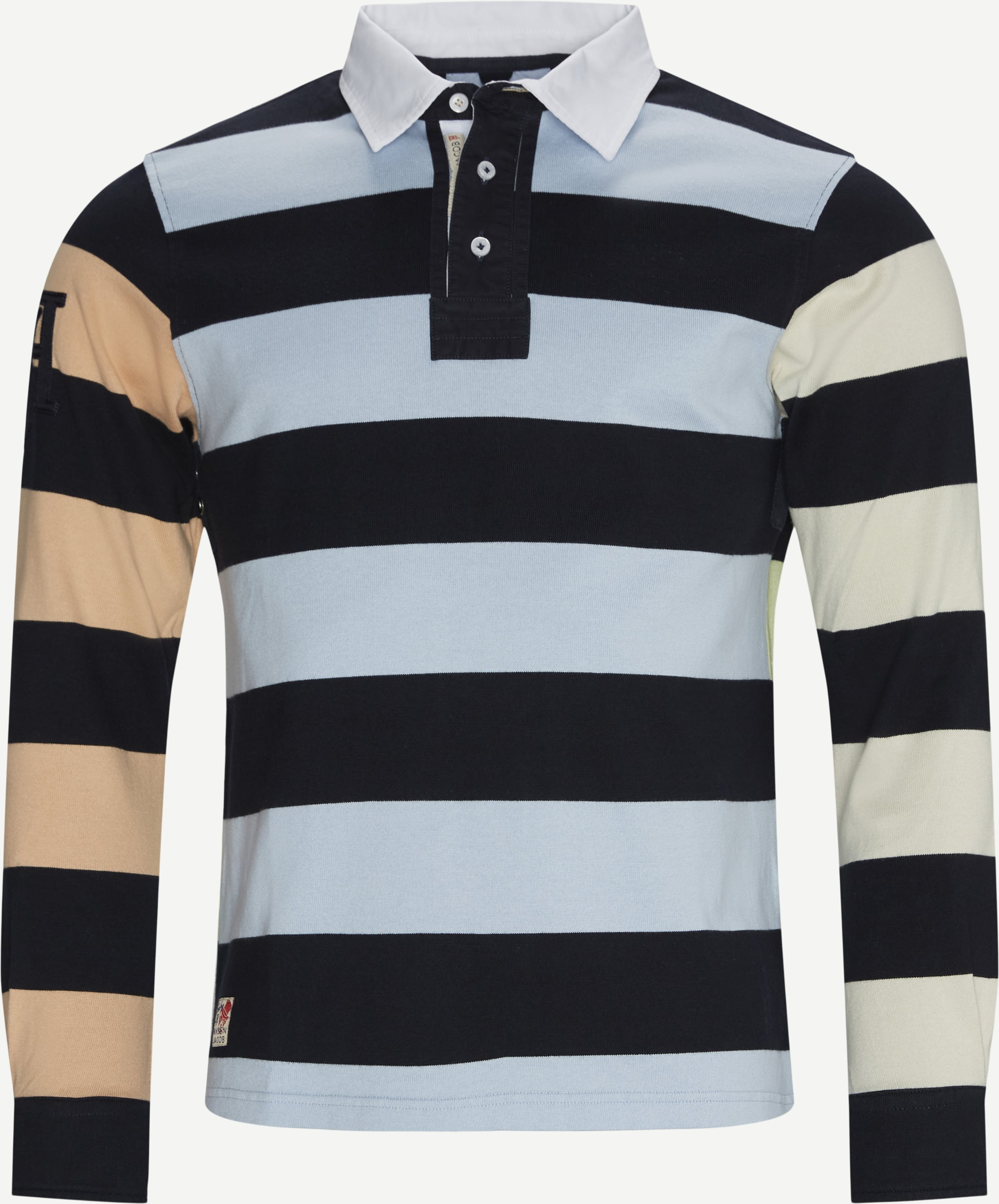 Multi Block Stripped LÆ Polo T-shirt - Langærmede polo t-shirts - Regular - Blå
