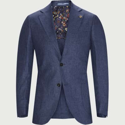 Solid Linen Blazer Slim fit | Solid Linen Blazer | Blå