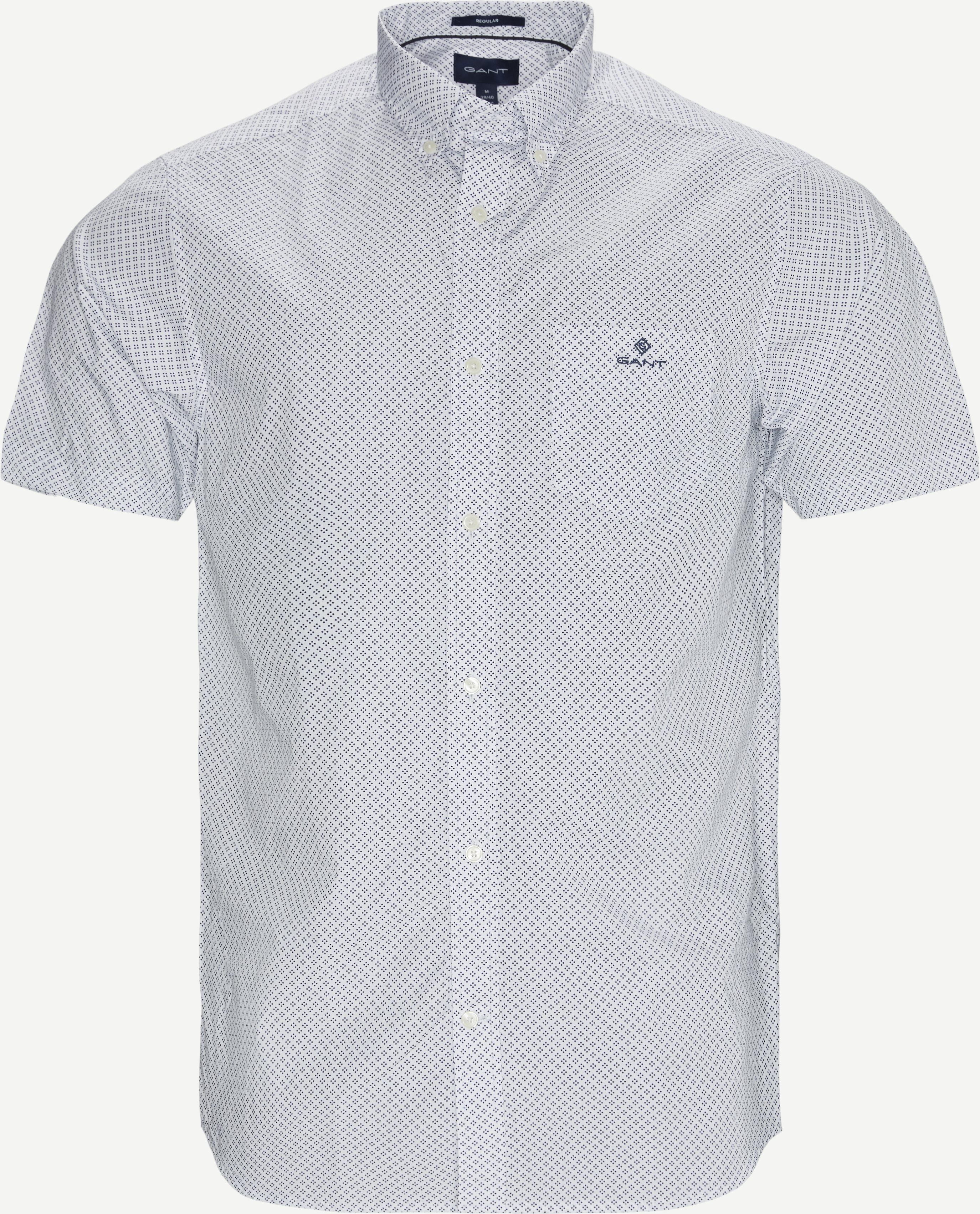 Reg Micro Dot K/Æ Skjorte  - Kortärmade skjortor - Regular - Vit