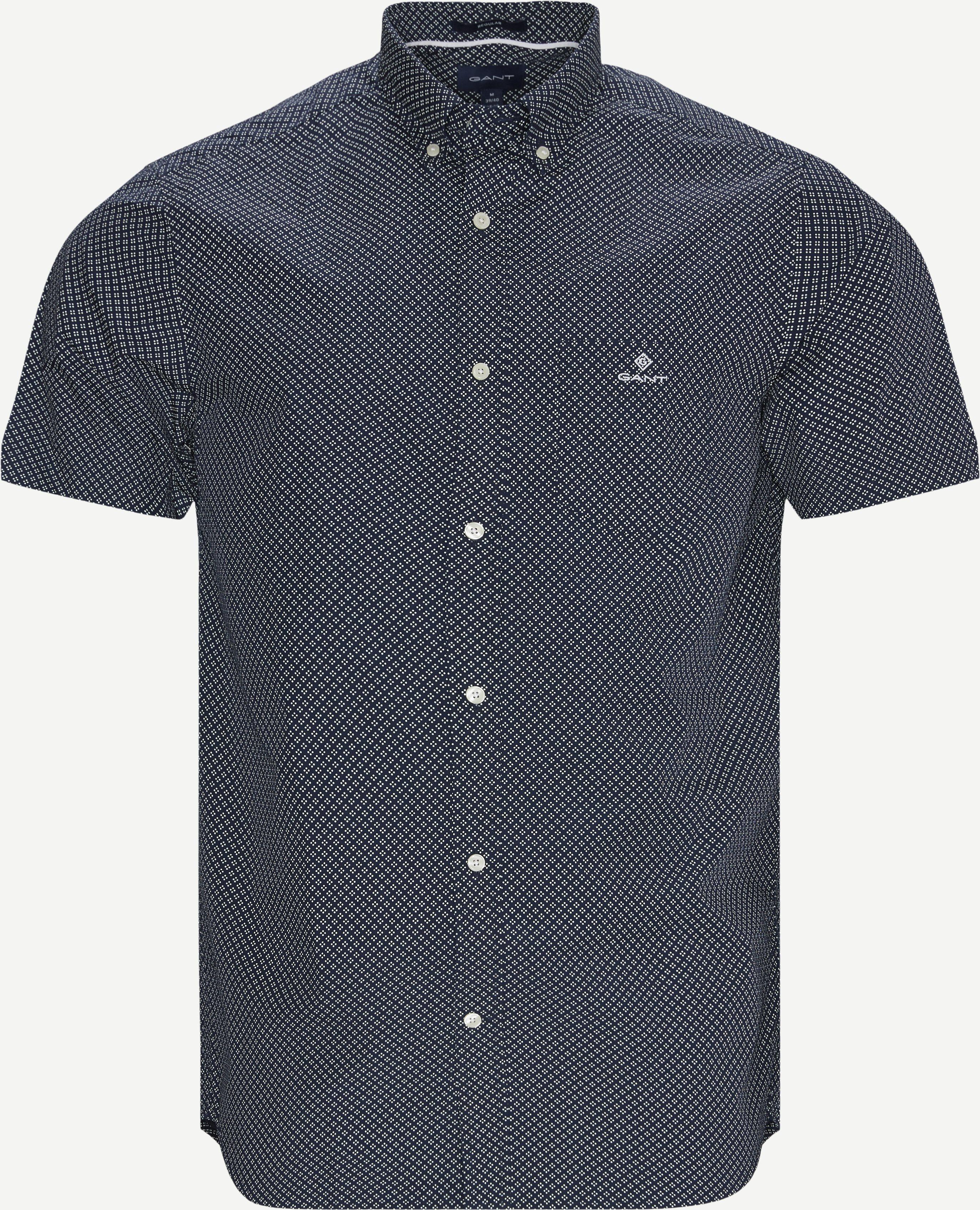Reg Micro Dot K/Æ Skjorte  - Kortärmade skjortor - Regular - Blå