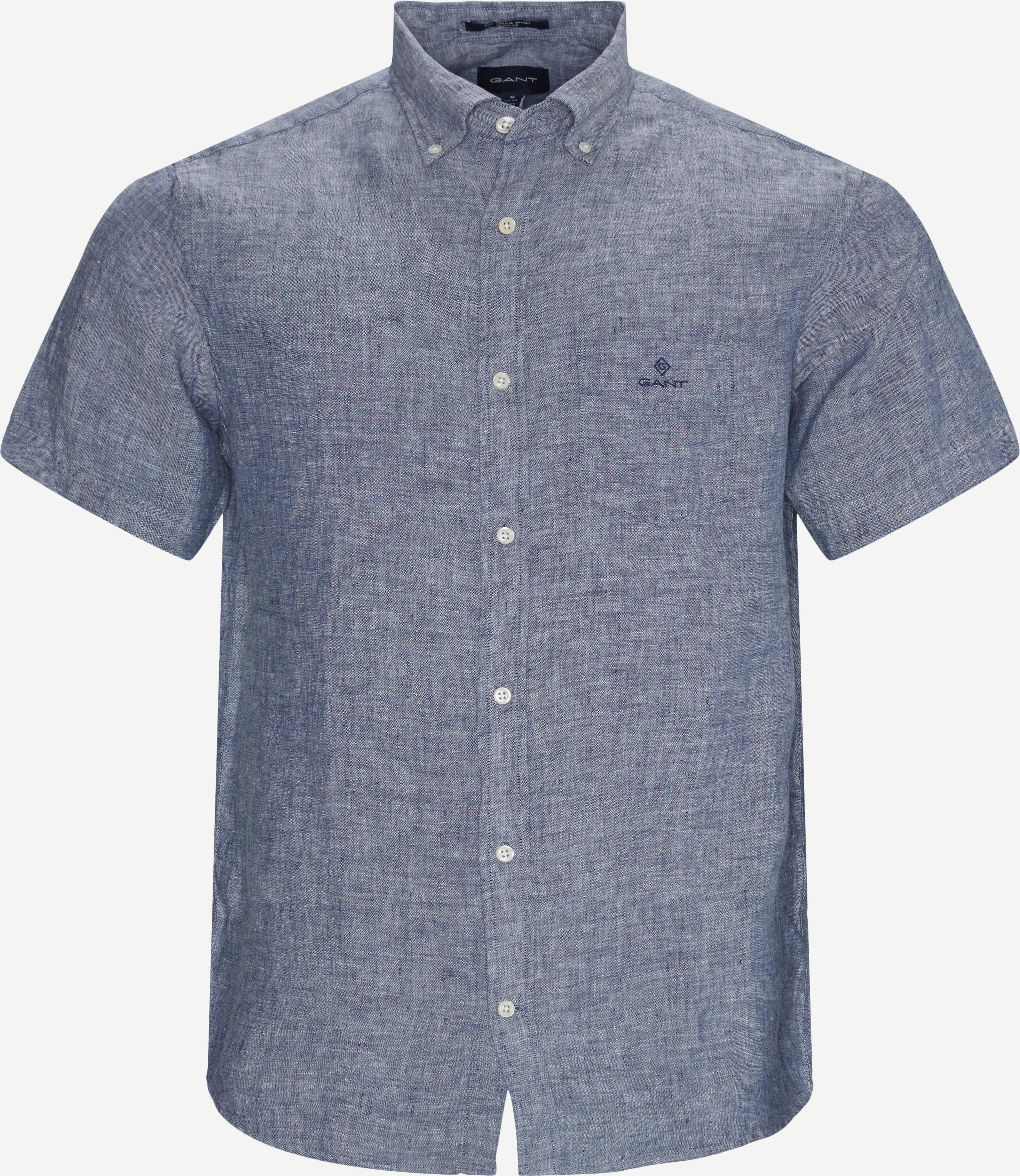 Reg Linen K/Æ Skjorte - Kortärmade skjortor - Regular - Blå